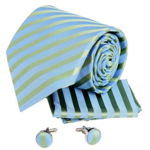 H5061 Blau Gestreift Pretty Geschenk Idee Seide Krawatten Manschettenkn?pfe Taschentuch Set 3PT Von Y&G