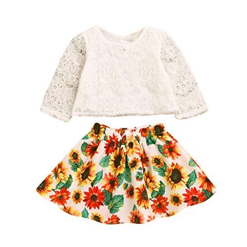 Kostüm Sonnenblume Baby - TPulling Baby Jungen Oberseiten-Sonnenblume-Blumenrock-Kleidungs-Sätze Baby Kleidung Baby Kleid Loop schal Damen Baby kostüm Kinder Kleider neugeborenen Set
