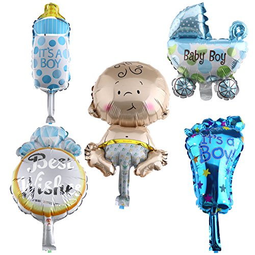 (5x Folienballon Baby Junge Party Geburt Luftballon IT'S A Boy Wiege Fuß Deko)
