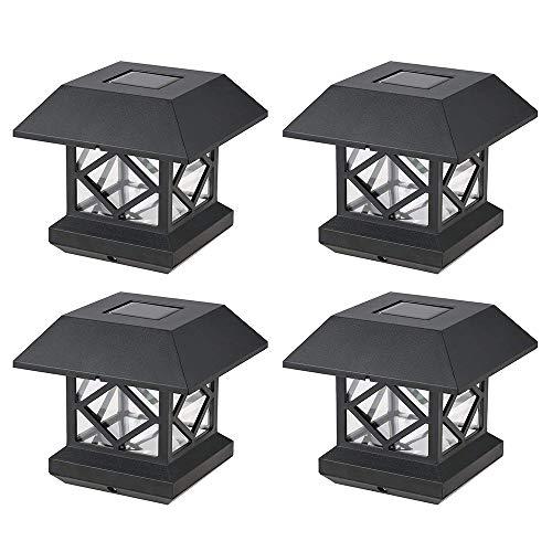 LIBWX Solar Pfostenkappe leuchtet im Freien - wasserdichte LED-Zaunpfosten-Solarleuchten für 4x4 Holzpfosten in Terrassen-, Deck- oder Gartendekoration,4pcs