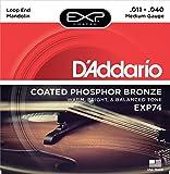 D'Addario Cordes en bronze phosphoreux pour mandoline avec revêtement D'Addario EXP74, Medium, 11-40