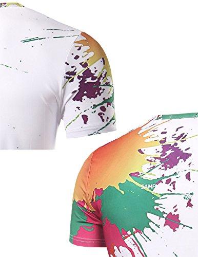 YCHENG Unisex Stilvolle Beiläufige Entwurf 3D-Druck-Muster Kurzarm T-Shirt mit Bunt 1102-V