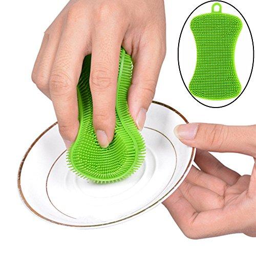 Gaddrt 11x4.5x0.7cm 1 stück silikon geschirr waschen schwamm wäscher küche reinigung antibakterielle Reinigungsbürste -
