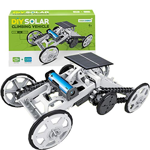 4WD Auto Spielzeug für Kinder Solar Power DIY Gebäude Kreative Montage Set Fahrzeuge, Geschenke für Kinder ab 8 Jahren (Weiß)