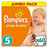 Pampers Sleep und Play Gr. 5, Jumbo Pack 60 Windeln, 1er Pack (1 x 60 Stück)