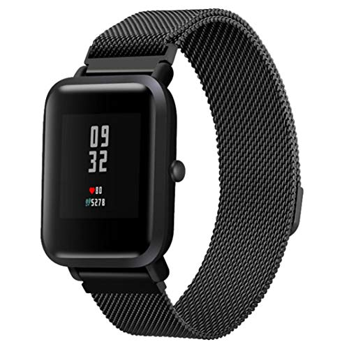 JiaMeng para Xiaomi MI Banda, Moda de Correa de Banda de Reloj de Pulsera de Acero Inoxidable para Reloj Xiaomi Amazfit Bip(Negro,tamaño Libre)