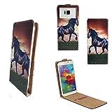 UHANS MX - Smartphone Klappbare Flip Tasche / Schutzhülle mit Kreditkartenfach - Flip Pferd Pony Nano M