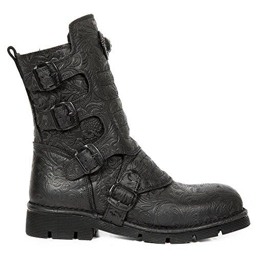 New Rock Leder Stiefel Black