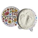 Baby Art One Step Geschenkbox zur Geburt oder Taufe, Magic Box Hello Baby mit Hand oder Fußabdruck zum aufstelle, rund, Limited Edition Carolyn Gavin, flowers, Blumen