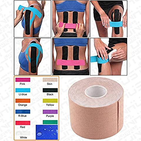 Kinesiology Tape - Pain Relief Adhesive - 5cm x 5m roll- Best Therapeutic Muscle Support Aid - Sports Wrap for Plantar Fasciitis Shin Splints Knee Elbow Wrist Back Shoulder Ankle & Neck - sports injury tape - Physio tape - Water resistant by Aution House (QTY:1,