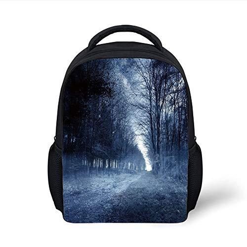 Kids School Backpack Halloween,Ghostly Haunted Forest Image Bleak Gloomy Misty Nature Landscape Decorative,White Black Light Blue Plain Bookbag Travel Daypack (Forest Halloween Haunted)