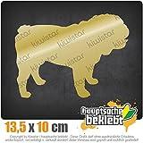 Englische Bulldogge Hunderasse 13,5 x 10 cm IN 15 FARBEN - Neon + Chrom! Sticker Aufkleber