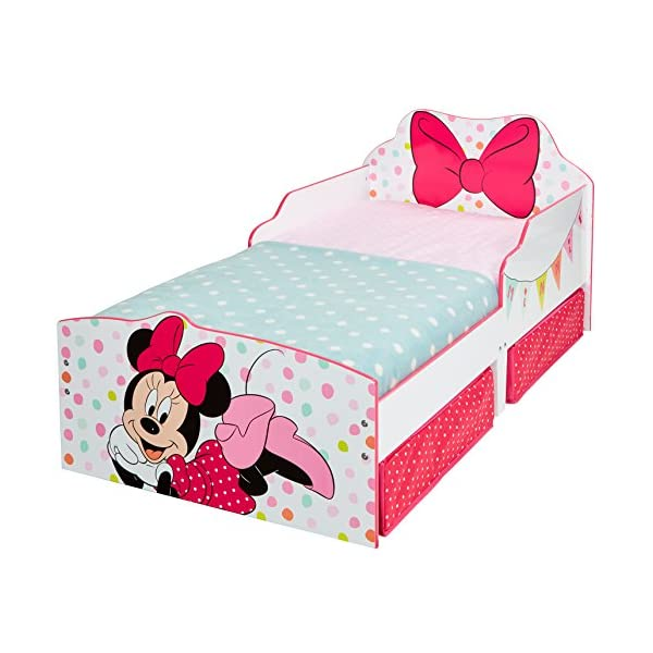 Hello Home Minnie Mouse Toddler Bed with Underbed Storage, Wood, White, 142 x 77 x 63 cm  Perfect for transitioning your little one from cot to first big bed The perfect size for toddlers, low to the ground with protective side guards to keep your little one safe and snug Two handy underbed, fabric storage drawers 7