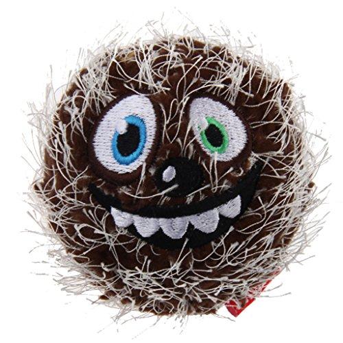 GiGwi 6204 Hundespielzeug Crazy Ball aus Plüsch und Gummi, mit Quietscher, Hundeball / Spielball, braun