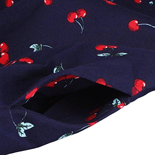 LUOUSE Damen 1950 50er Vintage Rockabilly Party Kleider Abendkleider Cocktailkleid 2-V202-BlueCherry