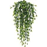 MIHOUNION künstliche Pflanzen für Draussen hängend hängepflanzen künstliche grünpflanze reben künstlich plastikpflanzen künstliche Pflanzen für Balkon Topf Hochzeit Garten deko 2 Pcs