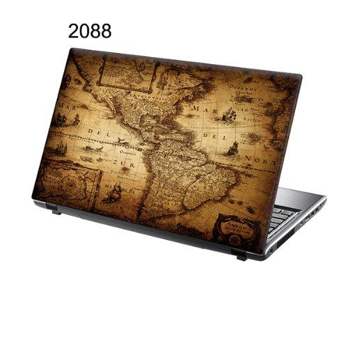 er Skin Vinyl Aufkleber mit bunten Mustern für 15 Zoll 15,6 Zoll (38cm x 25,5cm) Laptop Skin bunten alte Karte ()