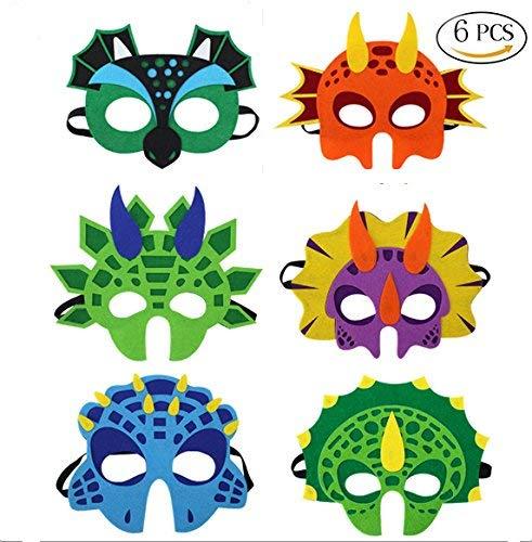 U&X Dinosaurier Filz Halloween Masken-Latex frei für Kind im Alter von 3 +, 6 Sortiert