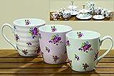 3 x schöne Jumbobecher Odette im Set Porzellan mit Rosenmuster Kaffeebecher Tasse Becher