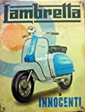 Lambretta - Innocenti. Blue and white on Mod target. Scooter Moped. For house, home or garage or cafe or pub. Small Metal/Steel Wall Sign