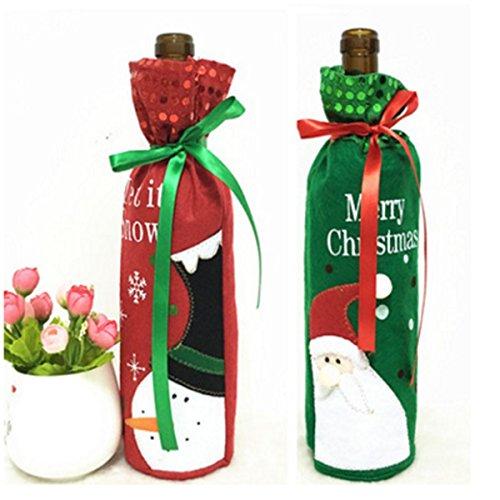 Beautygirl--a Schneemann und Santa Claus Weihnachten Wein Halterung Flasche Geschenk Tasche Xmas Eve Tisch Dekoration Weihnachten Geschenk, 2Stück