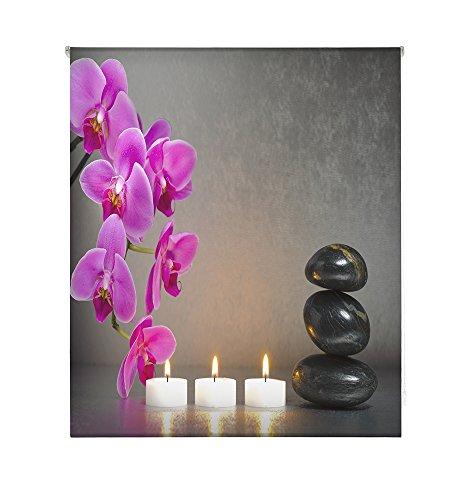 HappyStor HSCZ6950 Estor Enrollable Estampado Digital Zen Tejido Traslúcido Medida Total Estor:120x250 (**Solo Ancho Tela:116-117cm.**)