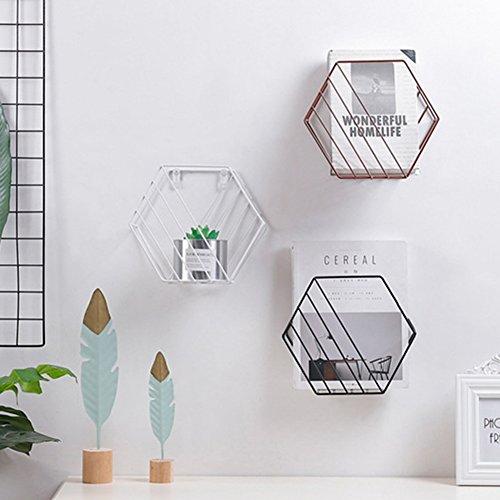 Heresell filo esagonale ripiano griglia portaoggetti da parete, motivo geometrico decorativo portariviste da parete per soggiorno camera da letto gold