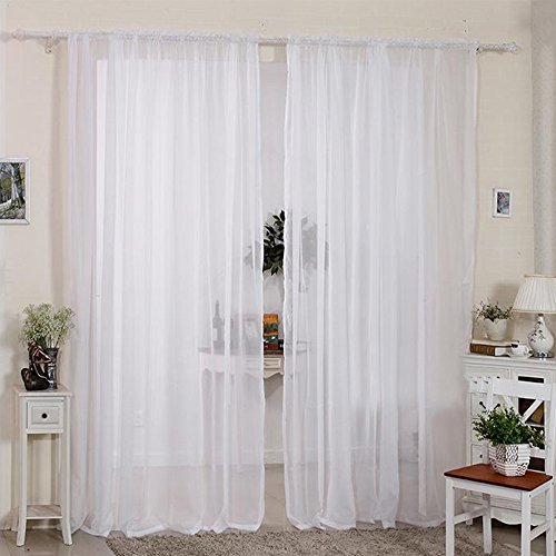 2pcs cortinas visillo decoración de ventana visillo con anillas integ