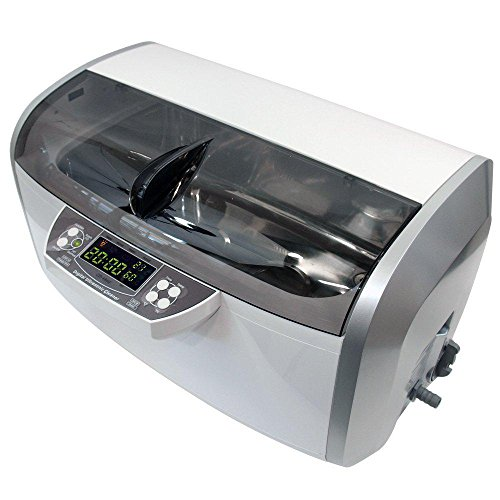 QINGXI 310W 6 litros Calentado Limpiador Ultrasónico, El plastico Cesta, 30 Minutos Minutero, Desagüe, 2 Transductores, 2 Calentadores (Gris)