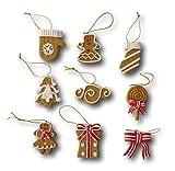 9 tlg. Set Weihnachtsbaumschmuck Christbaumschmuck Figuren Aufhänger Baumschmuck Anhänger aus Polymer Ton Pfefferkuchen oder rot-weiß Design (Design Lebkuchen / beige)