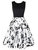 50s dress rockabilly damen blumenmuster motto partykleid cocktailkleider knielang petticoat kleid L CL0463-1