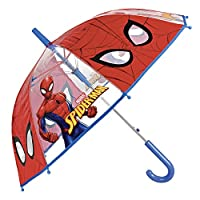 Spiderman Kids Umbrella - Automatic Stick Boys Umbrella - Marvel Spider Man - Windproof and Resistant Dome Brolly - 5 to 7 Years - Red and Blue - Diameter 74 cm - Perletti