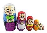 Matrjoschka/Matroschka, Bauernfamilie, russische Puppe, glasiert, ineinander schachtelbar, Spielzeug, handgefertigt, Geschenk für Kinder,6Stück