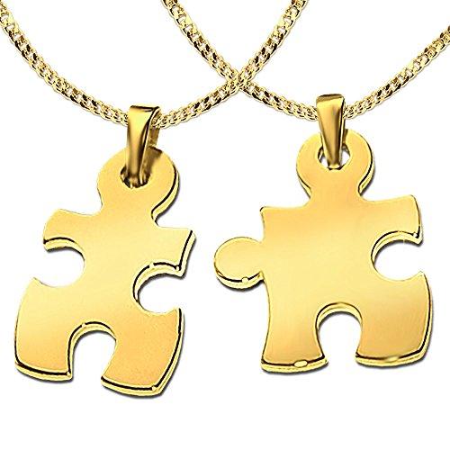 Clever Schmuck Set 2 Vergoldete Partneranhänger als Puzzleteil 25 mm glänzend STERLING SILBER 925 gold-plattiert mit zwei vergoldeten Ketten je 45 und 50 cm im Etui