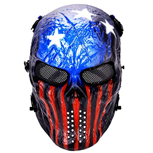 Xenon Waffe Taktische Maske, Volles Gesicht Metallgitter Bösen Horror Schädel Zombie-Maske, Geeignet Für Luftgewehr Paintball Jagd Schießen CS Kriegsspiel Rollenspiele,Blue (Schießen Halloween Zombie)