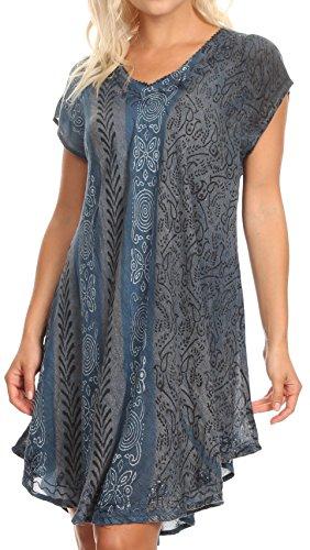 Cap Sleeve Shirt Öse (Sakkas 18701 - Salina Damen Crinckle Cap Sleeve V-Ausschnitt Top Tunika Bluse Pailletten & Print - Blau - OS)