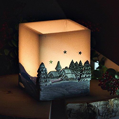 –Esfera Vela de Navidad Invierno Paisaje azul blanco té luz