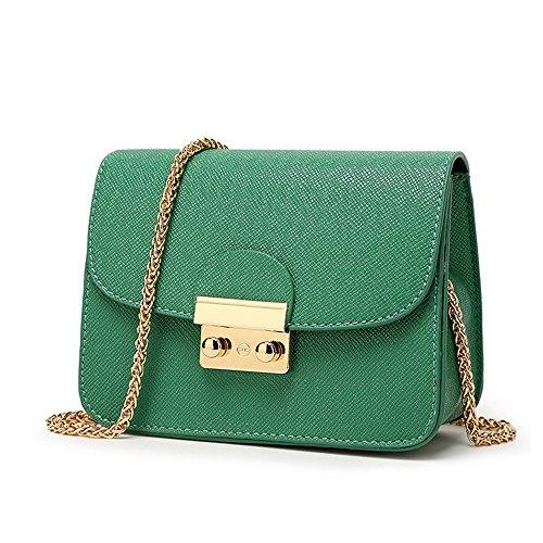 CHIKENCALL Damentasche Kleine Damen Umhängetasche Citytasche Schultertasche Handtasche Elegant Retro Vintage Tasche Kette Band -Grün