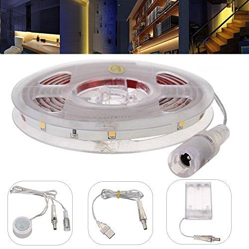 Sensor LED Strip, glisteny Sensor de movimiento tira LED, 150cm 30LED flexible 5050SMD RGB Impermeable IP65con battery Box + USB + cabecero Sensor de infrarrojos, para TV, HDTV, pantalla LCD, Lapto