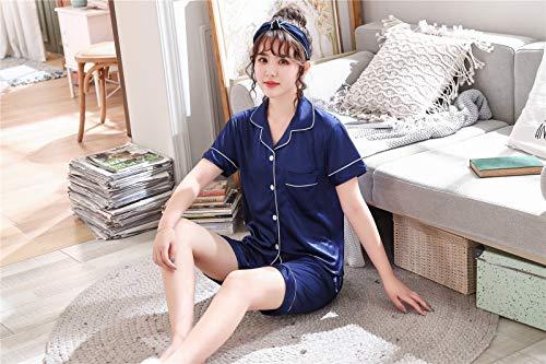 Paare Liebhaber Pyjama Sets Frauen Kurzarm Sommer Pyjama Lose Männer Faux Silk Style Paar Pijama Set Nachtwäsche Top + Pants XXL