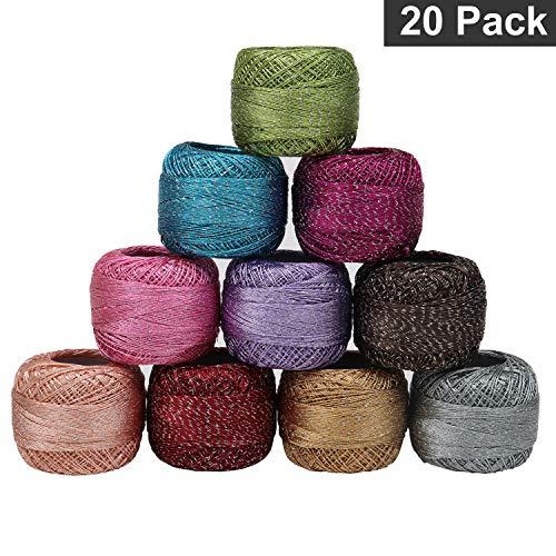 Kurtzy cotone maglieria - 20 filati e 4 ganci - 85 m colori assortiti filato cotone - filato glitter maglieria per ricamo, quilting - 1700 metri totali per principianti e avanzati