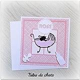 faire-part carré, naissance fille, tribu de chats, chat sur fond à traits roses , motifs blancs