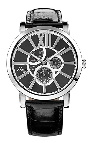 Kenneth Cole KC1980 43mm Stainless Steel Case Black Calfskin Mineral Men's Watch (Certified Refurbished)