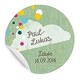 3x24 personalisierte MATTE Etiketten für Kinder im freundlichen Konfetti Design, GRÜN, für Jungen und Mädchen, zur Geburt, Taufe, Geburtstag, Kommunion mit Wolke, individualisierbar, rund, 4 cm