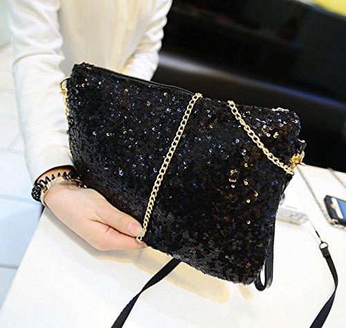 kingken Luxus Pailletten Umschlag Party Abend Clutch Handtasche Handtasche für Damen, schwarz (Zierliche Handtasche)