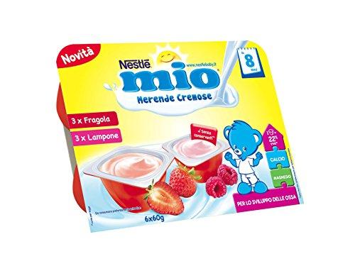 Nestlé Mio Merenda Cremosa Fragola e Lampone da 8 Mesi, senza Glutine, 6 Vasetti Plastica da 60g - [confezione da 8]