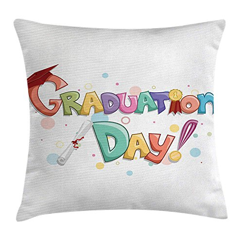 VTXWL Graduation Throw Pillow Cushion Cover by, Cute Celebration Quote with Colorful Circles Diploma Ceremony Style Illustration, Decorative Square Accent Pillow Case, 18 X 18 Inches, Multi