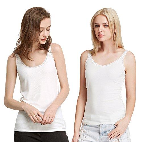 Liang Rou Damen Rippenstrick Spitze Kamisol 2-pack 2-Pack: V-Ausschnitt /U-Ausschnitt Weiß