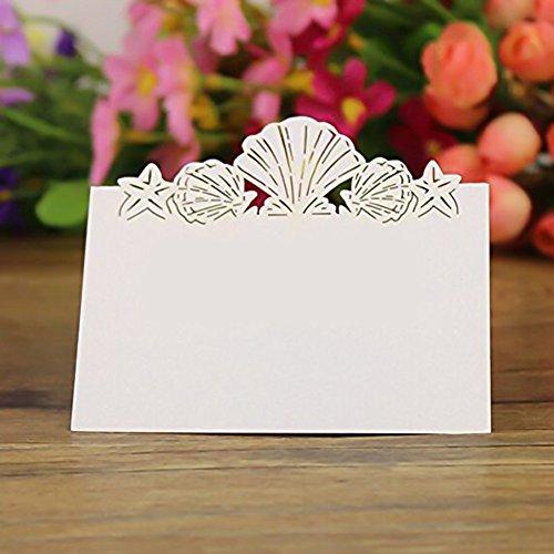 Kngtoys® 50pz segnaposto con 3d sea conchiglie segnaposti per bomboniera inviti matrimonio, bianco