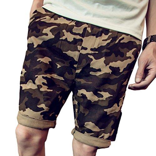 c63dc4188c2fa0 Yujeet Herren Sommer Kurze Hosen Straight Leg Bermuda Shorts Camouflage  Freizeithose für Strand Sports Jogging (Gelb